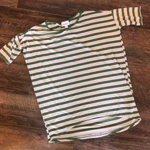 LuLaRoe Irma Green + Cream Stripe